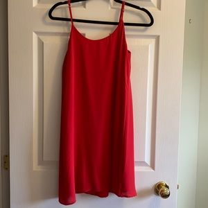 Red dress with a bow on the back